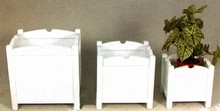 Set of 3 Square White Planters HGASD05761WHSML