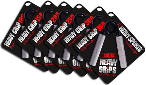 "The HeavyGrips fitness handgrippers are available in 6 strengths ranging from the Heavy Grip (HG) 100lb ""Beginner"" to the HG350 ""Grip Monster"" which takes an astounding 350 inch-force-pounds of twisting-torque to fully close. Please note that the Heavy Grips are not calibrated scientific instruments and their sole use is for athletes to use for acquiring superior grip / hand strength by using increased resistance and low reps. The Heavy Grips are a heavy-duty hand-gripper that are hand-crafted for a lifetime of use covered by a true lifetime warranty.  Stronger fingers, wrists and hands will aid athletes in every sport."