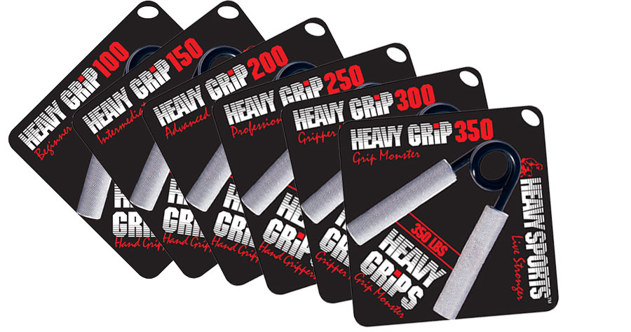 """The HeavyGrips fitness handgrippers are available in 6 strengths ranging from the Heavy Grip (HG) 100lb """"Beginner"""" to the HG350 """"Grip Monster"""" which takes an astounding 350 inch-force-pounds of twisting-torque to fully close. Please note that the Heavy Grips are not calibrated scientific instruments and their sole use is for athletes to use for acquiring superior grip / hand strength by using increased resistance and low reps. The Heavy Grips are a heavy-duty hand-gripper that are hand-crafted for a lifetime of use covered by a true lifetime warranty.  Stronger fingers, wrists and hands will aid athletes in every sport."""