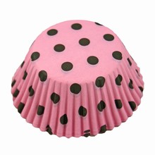 (S85mppd)Brown polka dots on pink cupcake liners