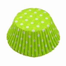 (s85mgpd)white polka dots on lime green cupcake liners