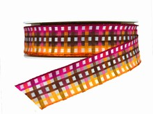 r713 Pink, Brown and Orange Plaid Wired Ribbon