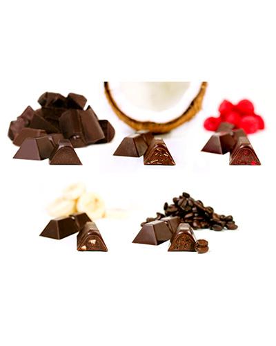 Bo�te de collection �co-bio, cinq b�tons - (contient une de chacune : noir � 72 %, coco, framboise, espresso, banane ou orange) - Theobroma Chocolat