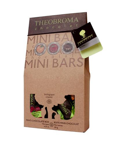 Bo�te de mini-chocolats, 3 saveurs assorties, 12 mini-barres - (contient 4 de chacune : noir �72 %, framboise, orange) - Theobroma Chocolat