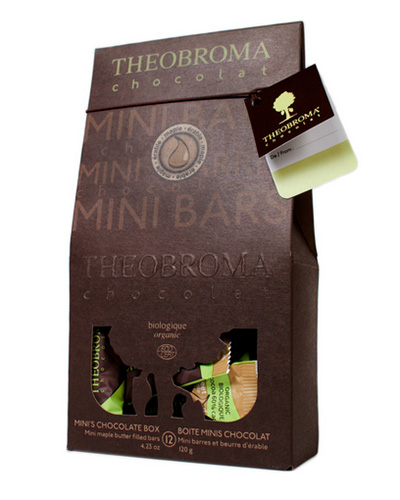 Bo�te de mini-chocolats au doux beurre d'�rable, 12 mini-barres - Theobroma Chocolat