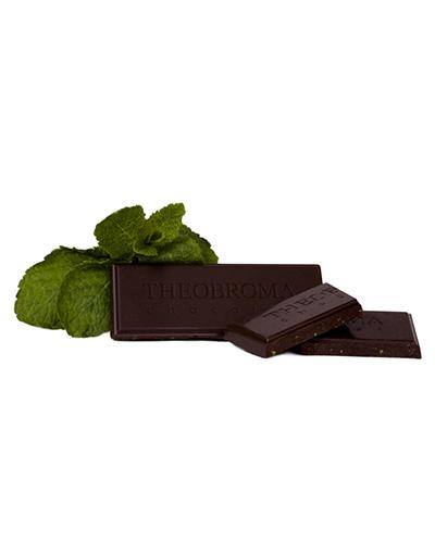Tablette de chocolat noir � 60 % et feuille de menthe - Theobroma Chocolat
